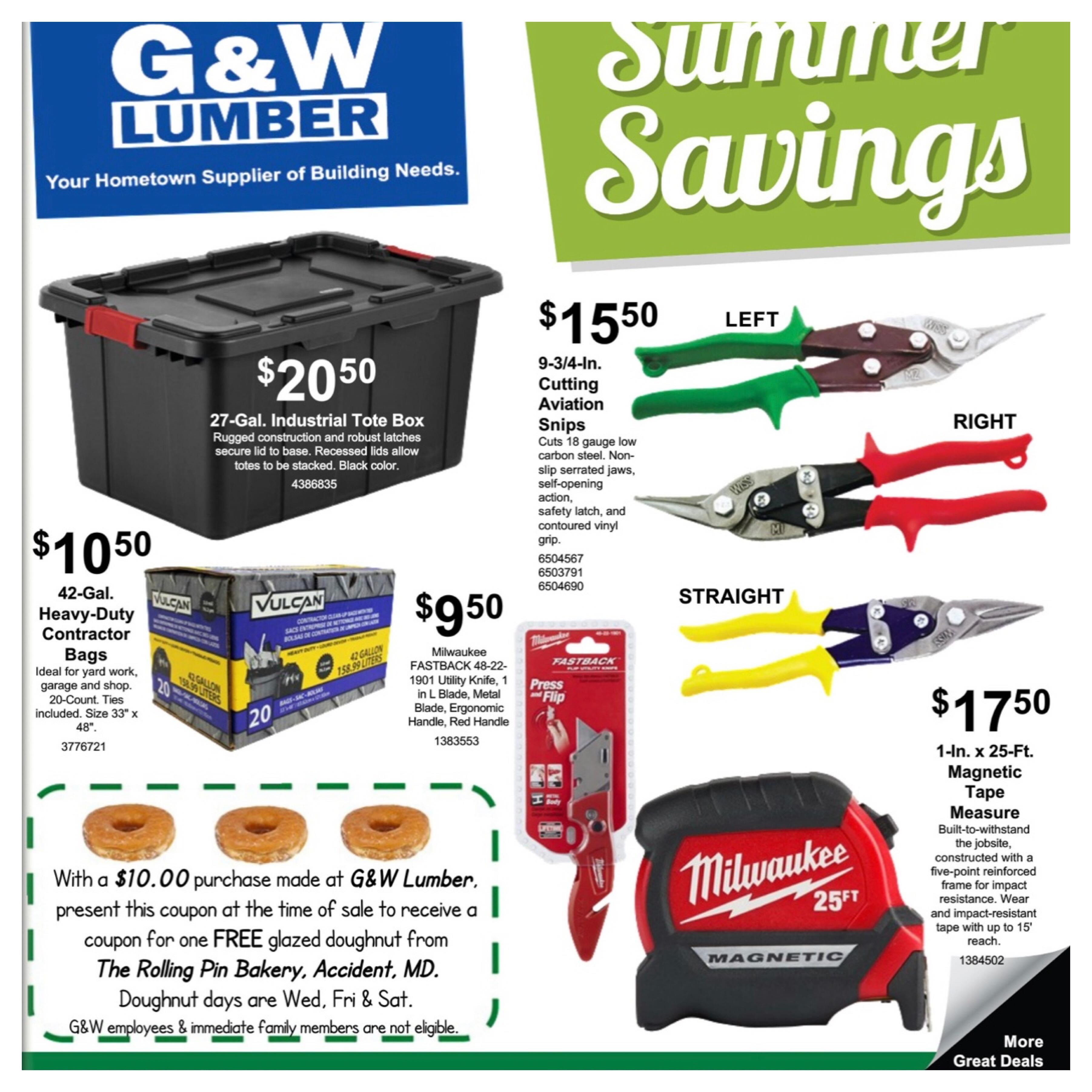 G&W Lumber Sales Flyer